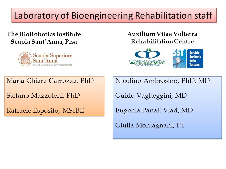 Laboratory of Bioengineering Rehabilitation staff