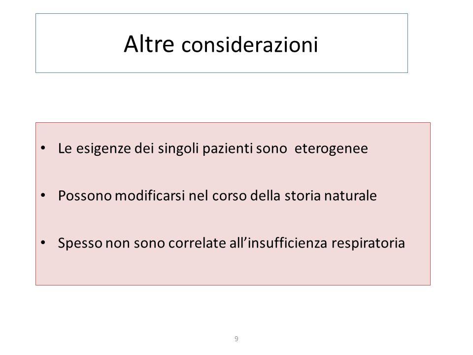 Altre considerazioni Le esigenze dei singoli pazienti sono eterogenee