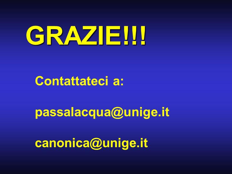 GRAZIE!!! Contattateci a: passalacqua@unige.it canonica@unige.it