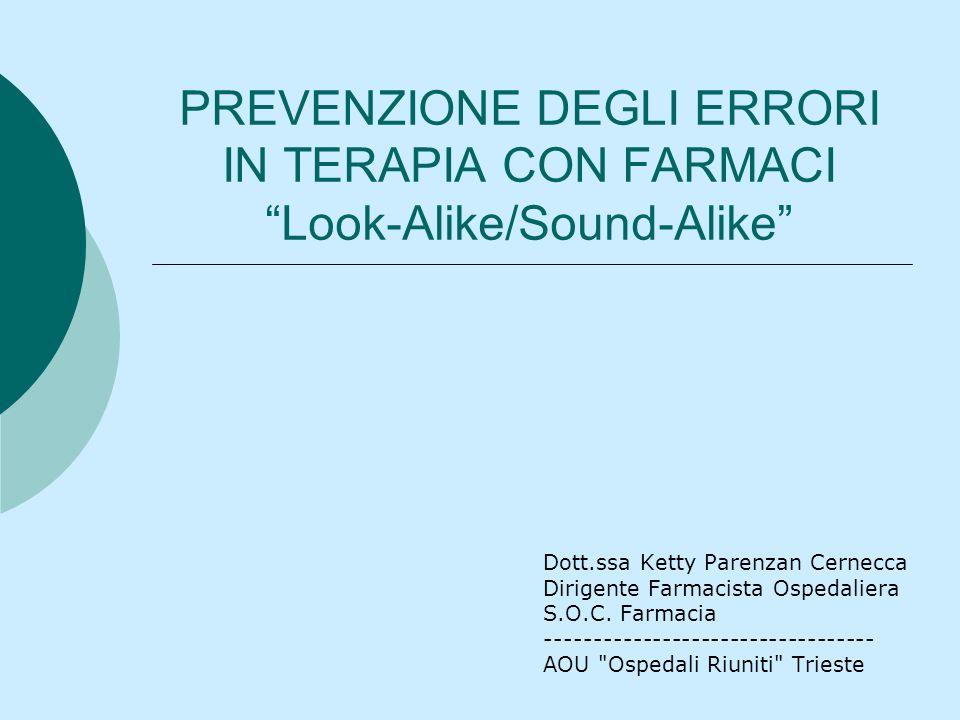 PREVENZIONE DEGLI ERRORI IN TERAPIA CON FARMACI Look-Alike/Sound-Alike