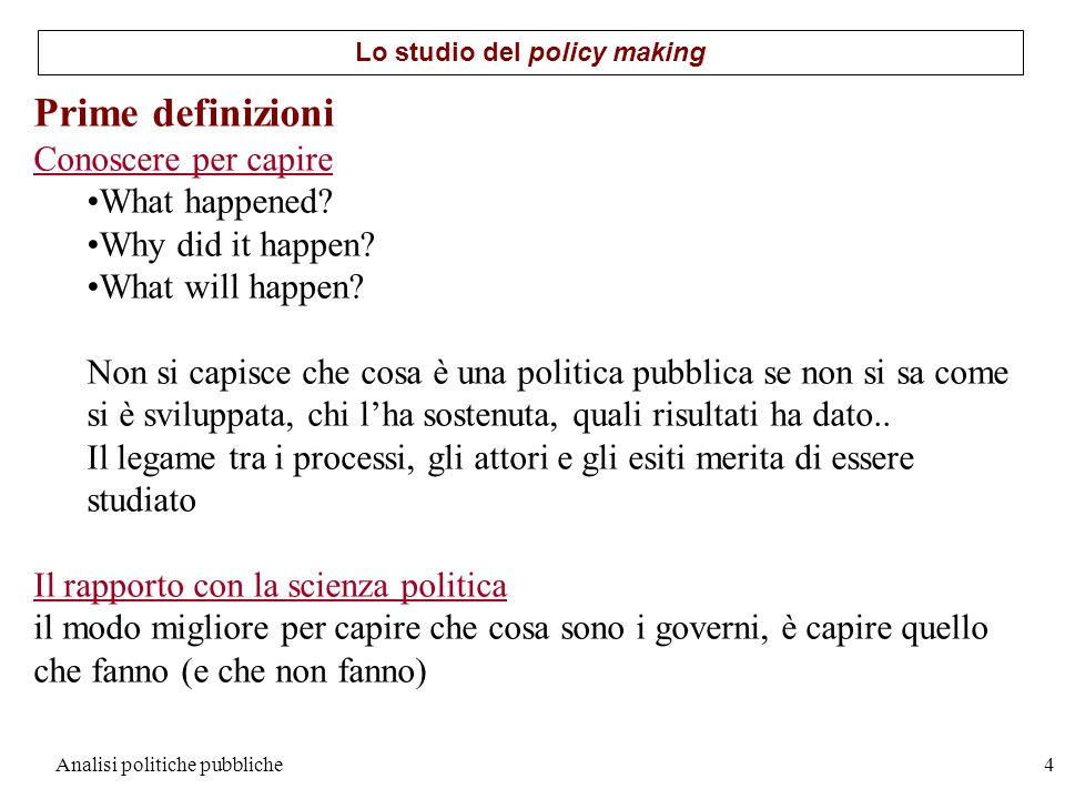 Lo studio del policy making