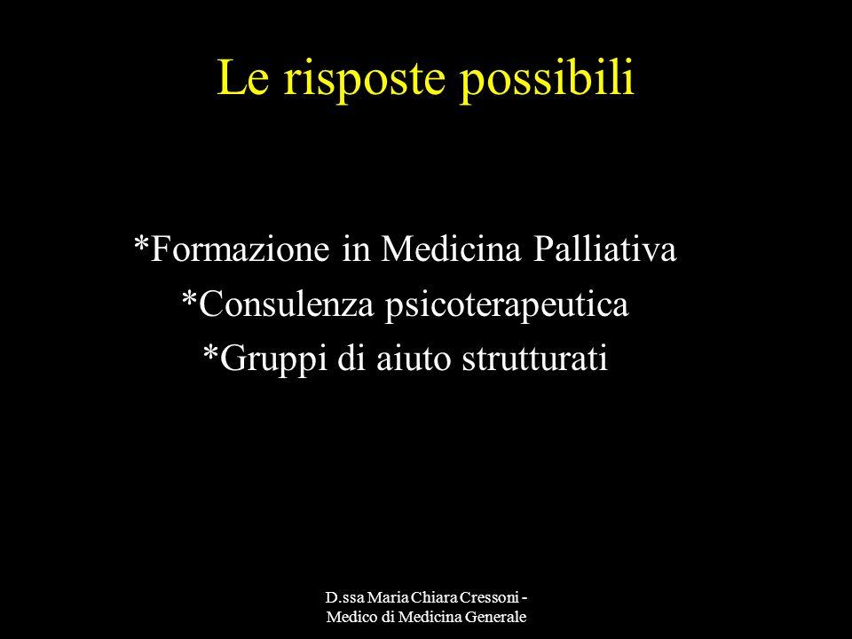 Le risposte possibili *Formazione in Medicina Palliativa