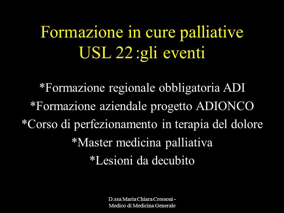 Formazione in cure palliative USL 22 :gli eventi