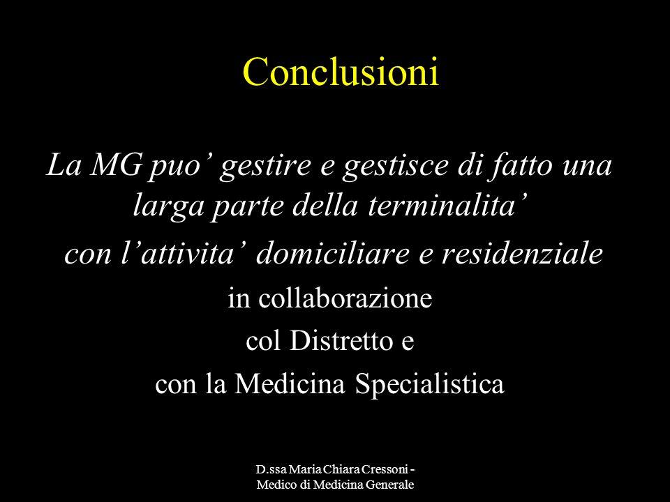 ConclusioniLa MG puo' gestire e gestisce di fatto una larga parte della terminalita' con l'attivita' domiciliare e residenziale.