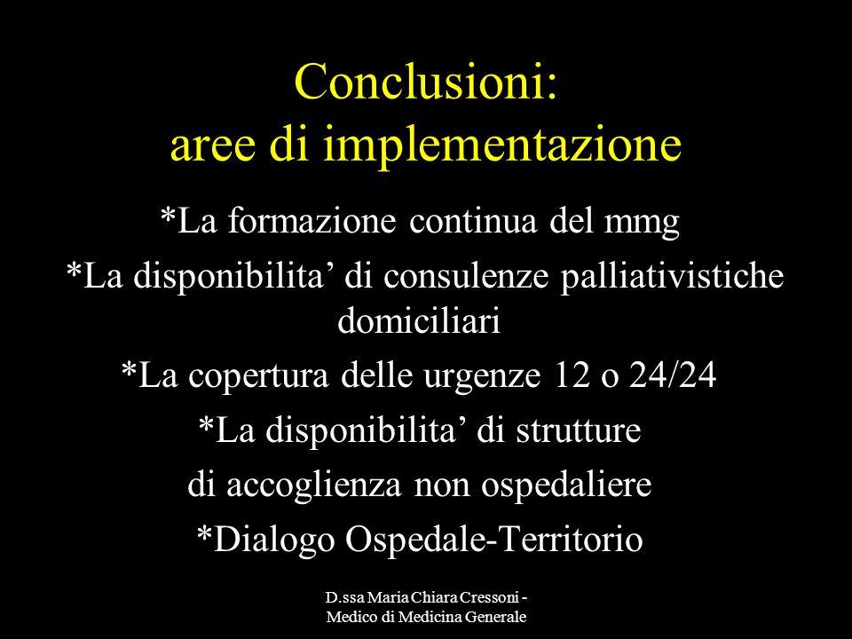 Conclusioni: aree di implementazione
