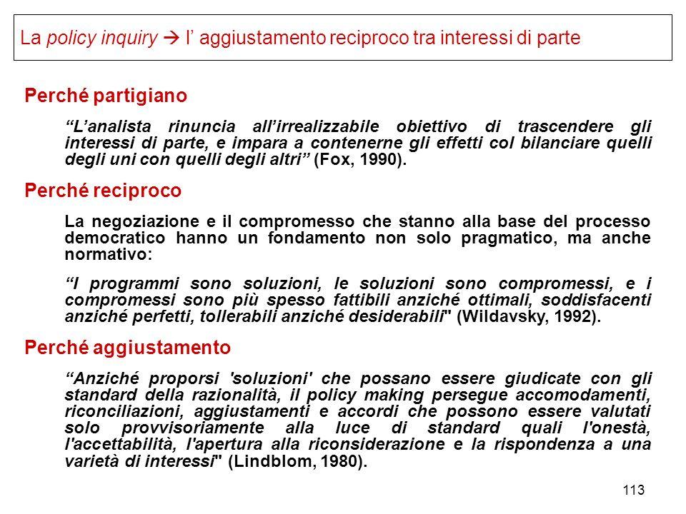 La policy inquiry  l' aggiustamento reciproco tra interessi di parte