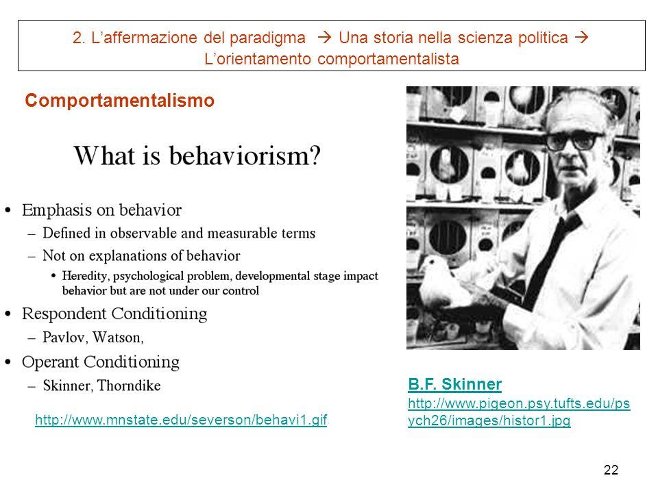 2. L'affermazione del paradigma  Una storia nella scienza politica  L'orientamento comportamentalista