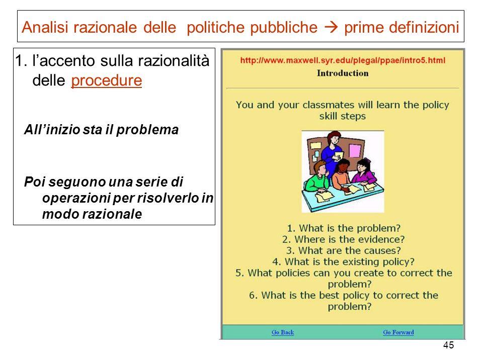 Analisi razionale delle politiche pubbliche  prime definizioni