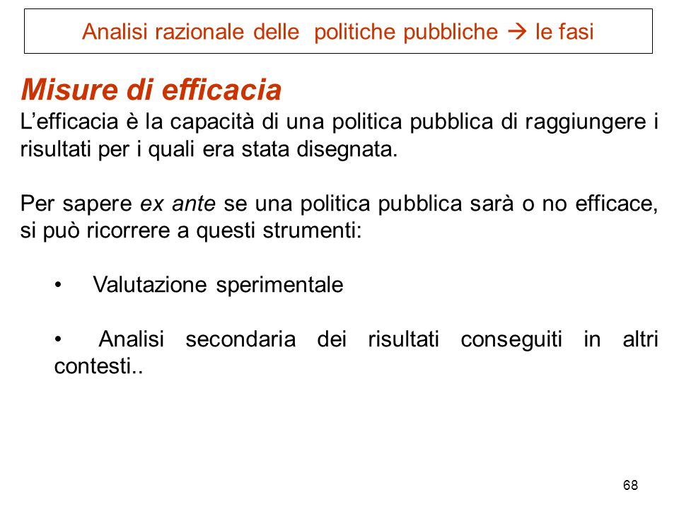 Analisi razionale delle politiche pubbliche  le fasi