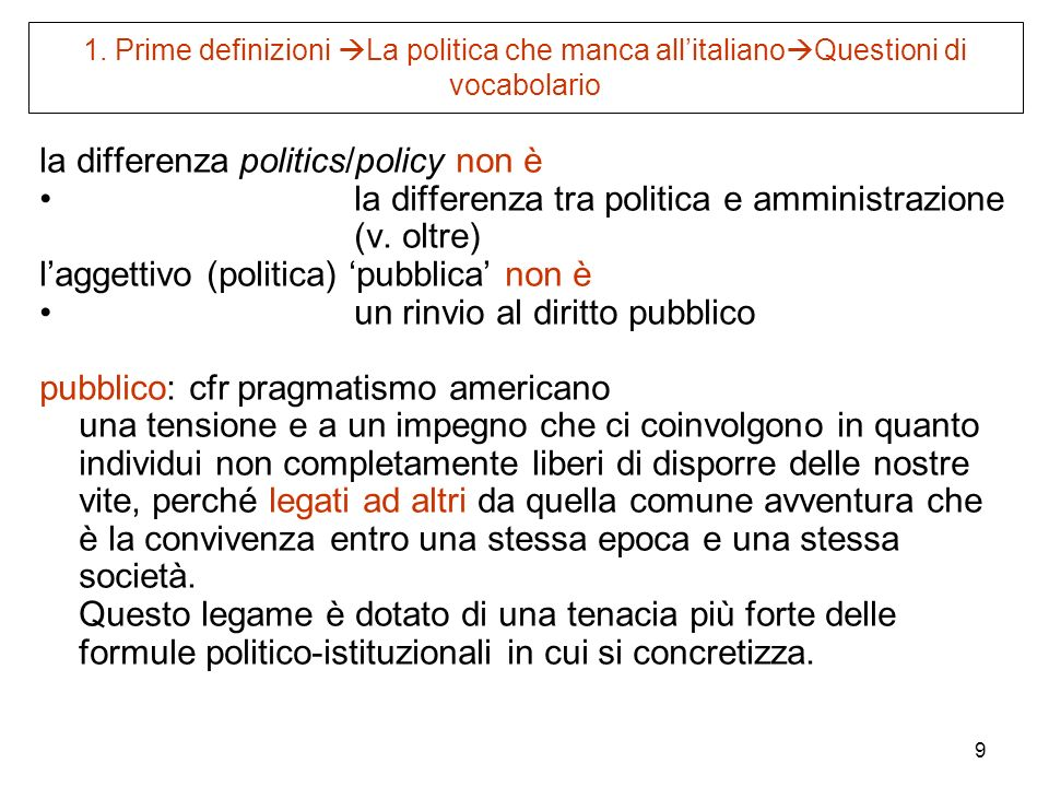 la differenza politics/policy non è