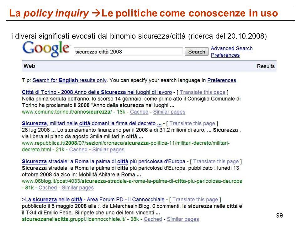 La policy inquiry Le politiche come conoscenze in uso