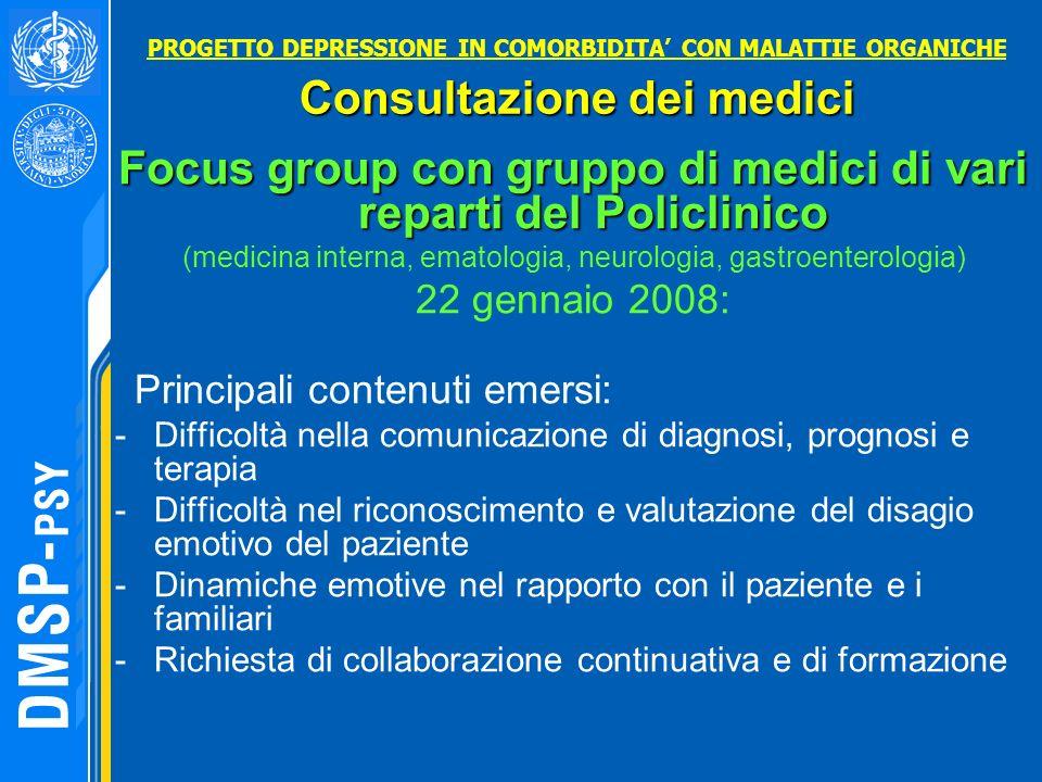 Focus group con gruppo di medici di vari reparti del Policlinico