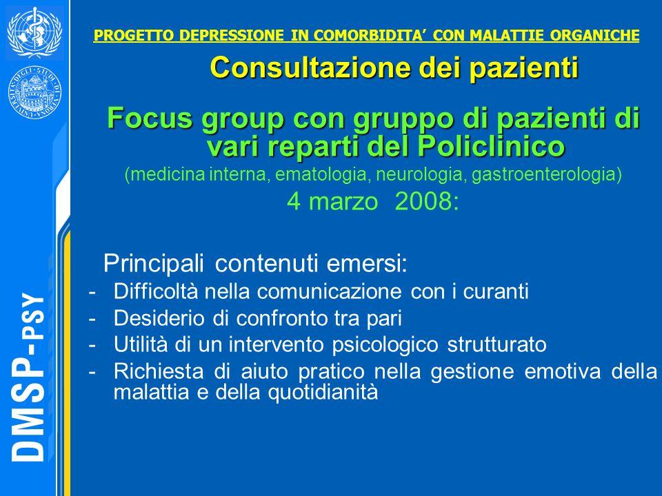 Focus group con gruppo di pazienti di vari reparti del Policlinico