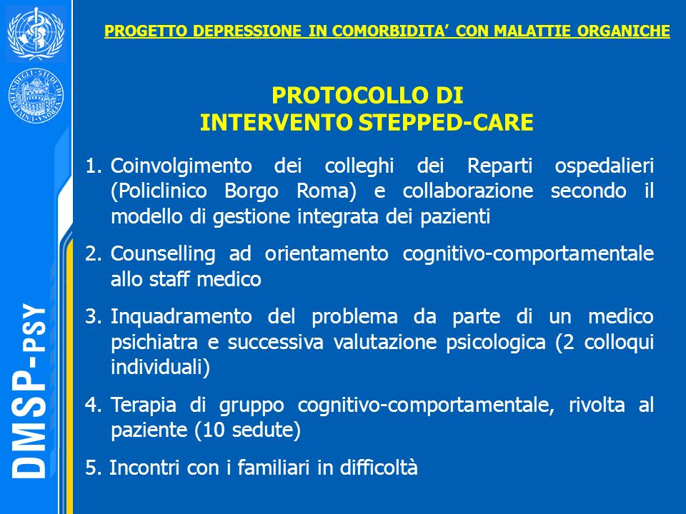 PROTOCOLLO DI INTERVENTO STEPPED-CARE