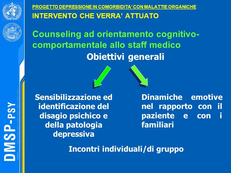 PROGETTO DEPRESSIONE IN COMORBIDITA' CON MALATTIE ORGANICHE INTERVENTO CHE VERRA' ATTUATO Counseling ad orientamento cognitivo-comportamentale allo staff medico