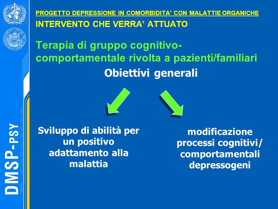 PROGETTO DEPRESSIONE IN COMORBIDITA' CON MALATTIE ORGANICHE INTERVENTO CHE VERRA' ATTUATO Terapia di gruppo cognitivo- comportamentale rivolta a pazienti/familiari