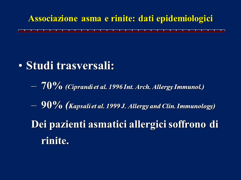 Associazione asma e rinite: dati epidemiologici
