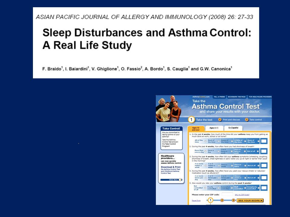 We published a couple of years ago a real life survey addressed to investigate the relationship between sleep disturbances and asthma control.