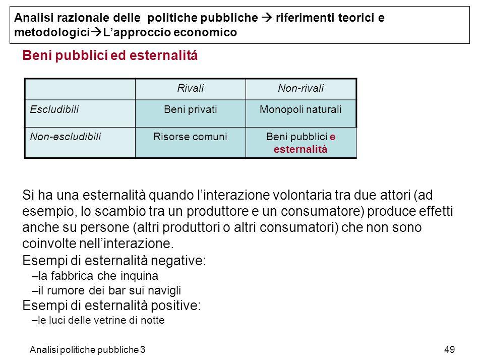 Beni pubblici ed esternalitá