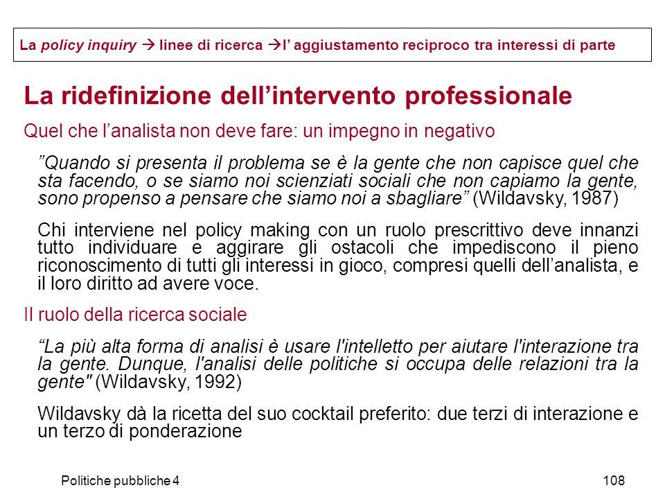 La ridefinizione dell'intervento professionale