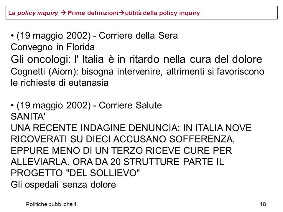 Gli oncologi: l Italia è in ritardo nella cura del dolore