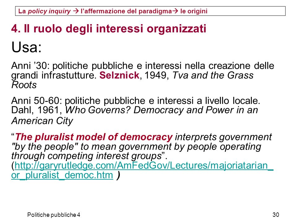 Usa: 4. Il ruolo degli interessi organizzati