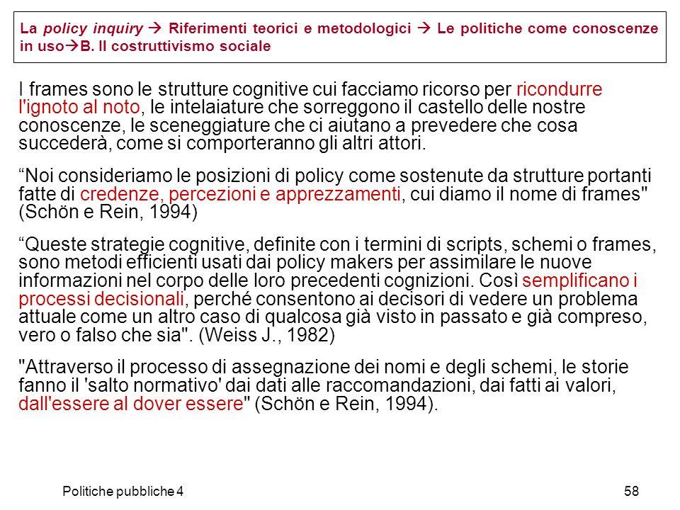 La policy inquiry  Riferimenti teorici e metodologici  Le politiche come conoscenze in usoB. Il costruttivismo sociale