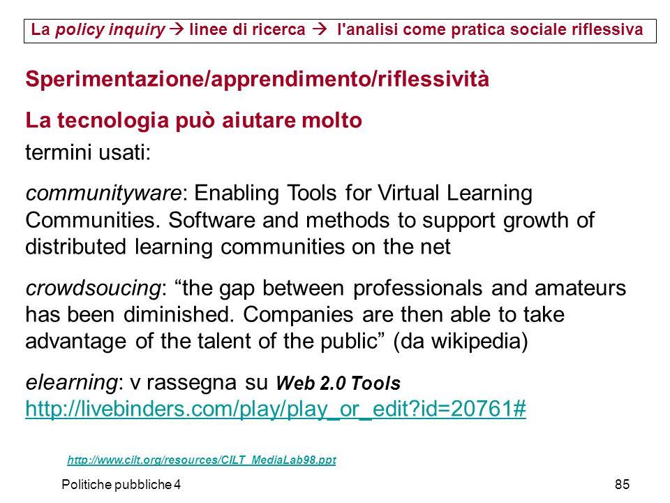 Sperimentazione/apprendimento/riflessività