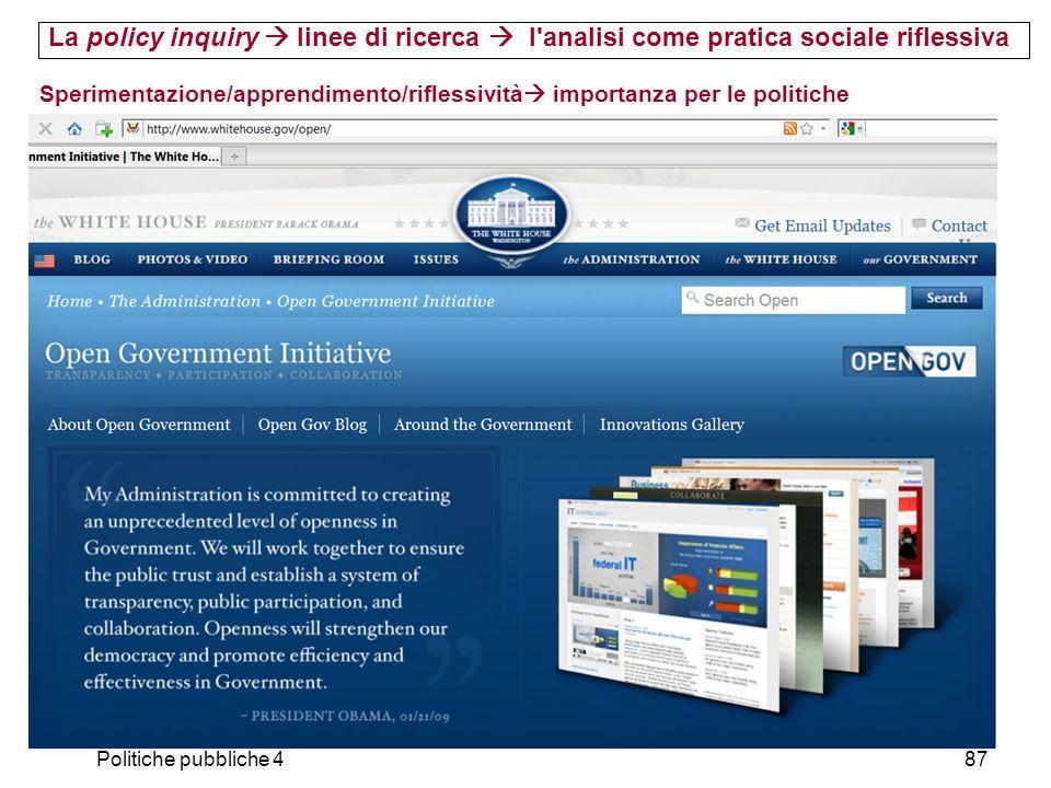 La policy inquiry  linee di ricerca  l analisi come pratica sociale riflessiva