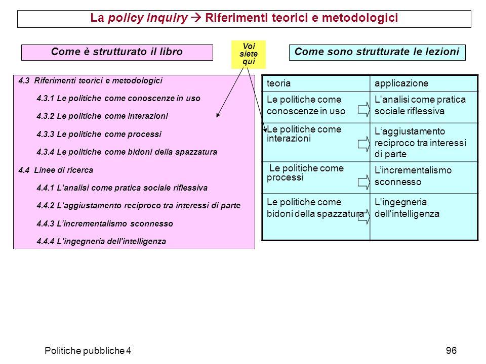 La policy inquiry  Riferimenti teorici e metodologici