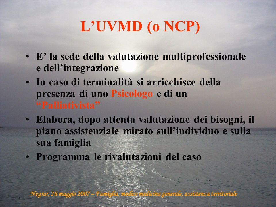 L'UVMD (o NCP) E' la sede della valutazione multiprofessionale e dell'integrazione.