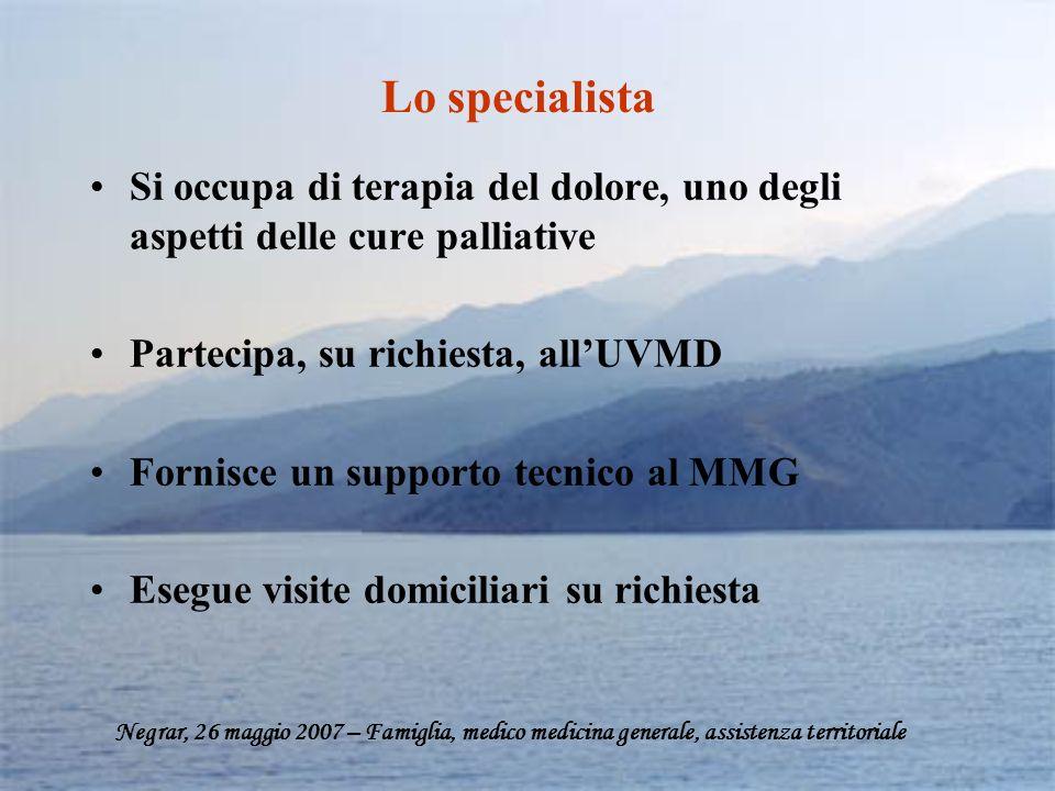 Lo specialista Si occupa di terapia del dolore, uno degli aspetti delle cure palliative. Partecipa, su richiesta, all'UVMD.