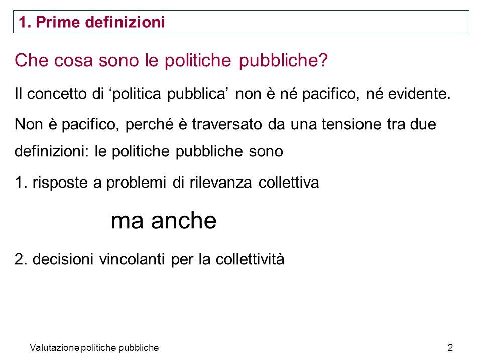 ma anche Che cosa sono le politiche pubbliche 1. Prime definizioni