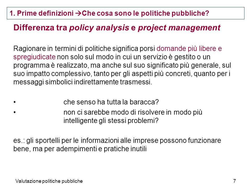 Differenza tra policy analysis e project management