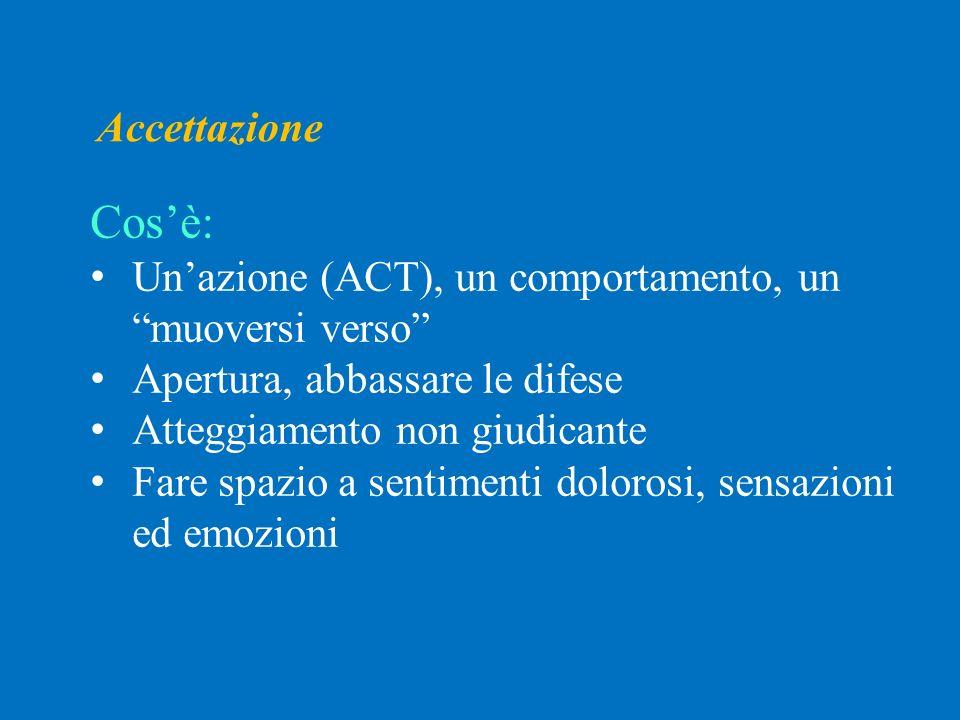 Accettazione Cos'è: Un'azione (ACT), un comportamento, un muoversi verso Apertura, abbassare le difese.