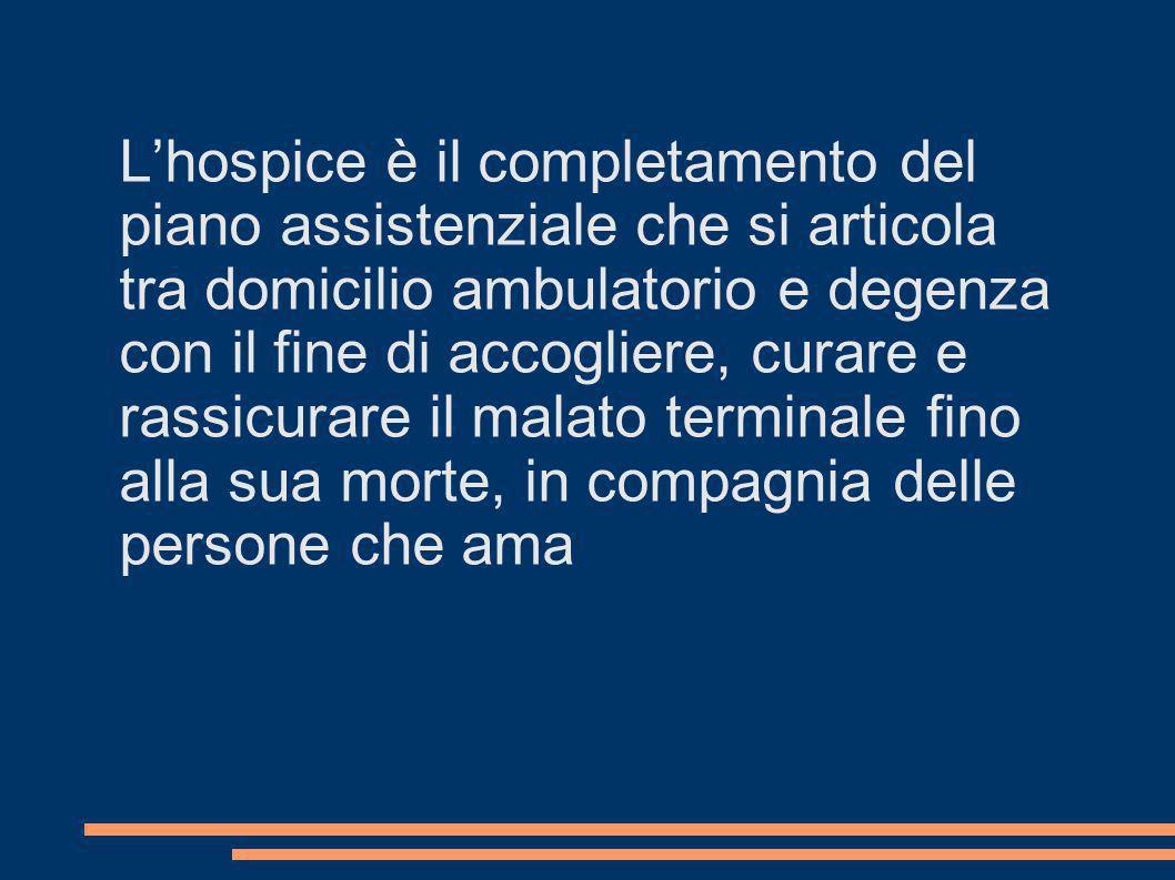 L'hospice è il completamento del piano assistenziale che si articola tra domicilio ambulatorio e degenza con il fine di accogliere, curare e rassicurare il malato terminale fino alla sua morte, in compagnia delle persone che ama