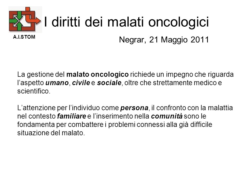 I diritti dei malati oncologici Negrar, 21 Maggio 2011