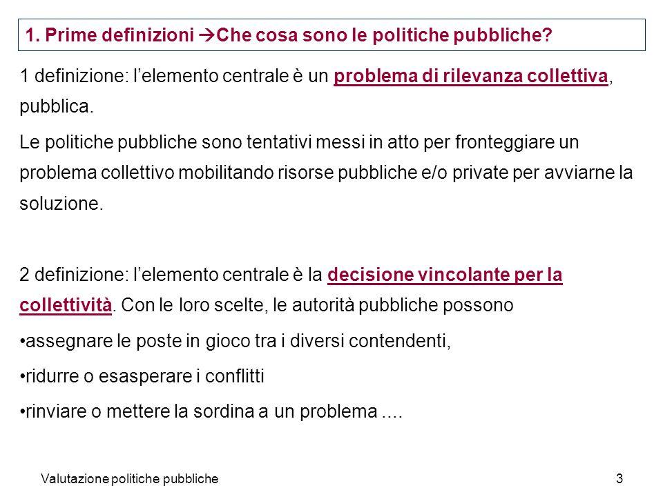 1. Prime definizioni Che cosa sono le politiche pubbliche