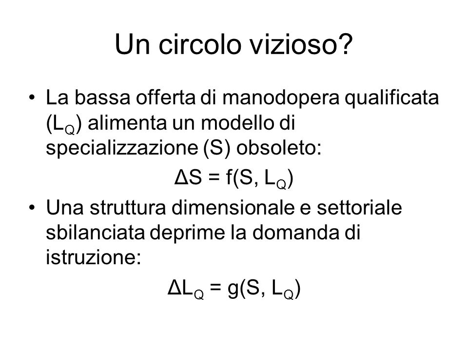 Un circolo vizioso La bassa offerta di manodopera qualificata (LQ) alimenta un modello di specializzazione (S) obsoleto: