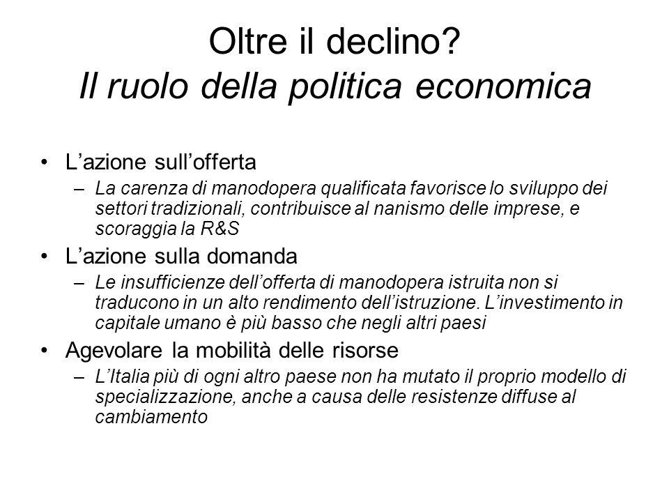 Oltre il declino Il ruolo della politica economica