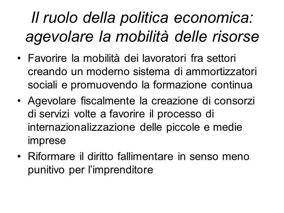 Il ruolo della politica economica: agevolare la mobilità delle risorse