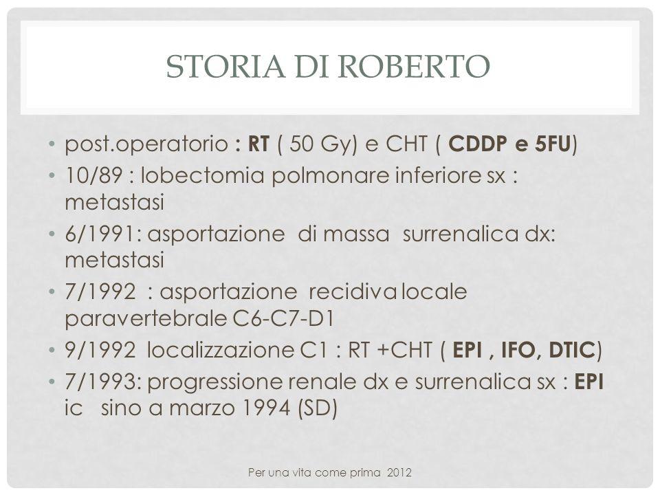 Storia di roberto post.operatorio : RT ( 50 Gy) e CHT ( CDDP e 5FU)