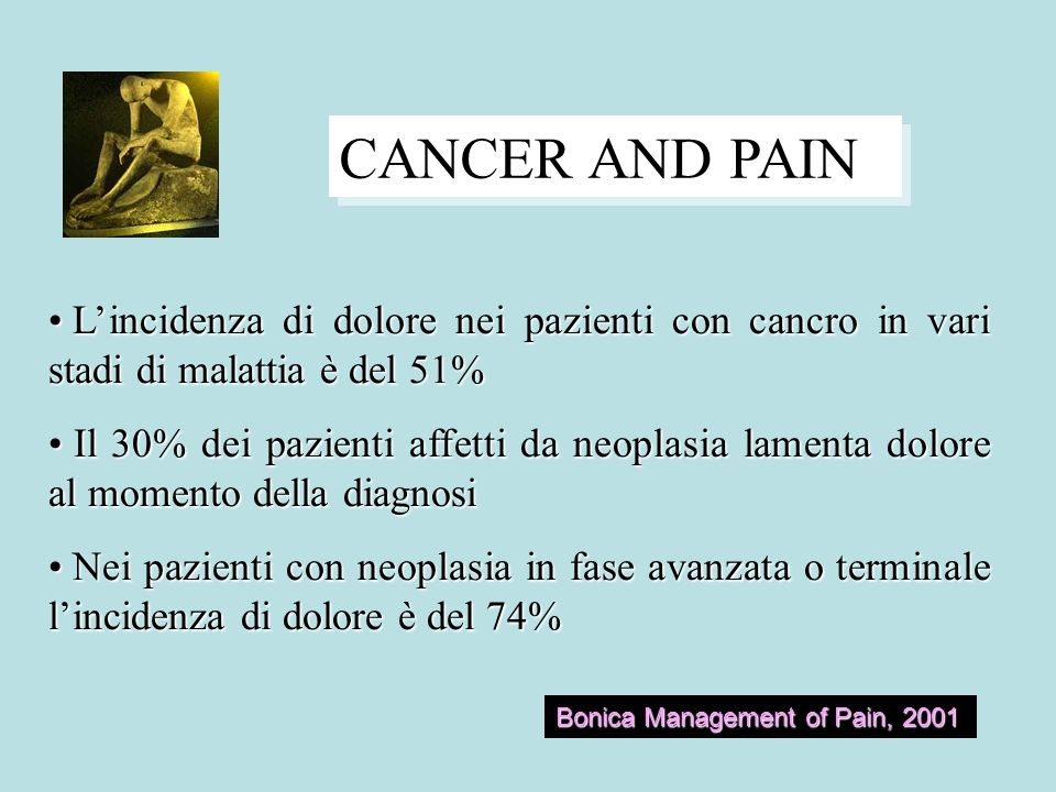 CANCER AND PAIN L'incidenza di dolore nei pazienti con cancro in vari stadi di malattia è del 51%