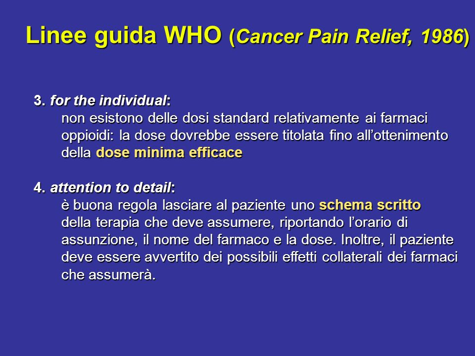 Linee guida WHO (Cancer Pain Relief, 1986)