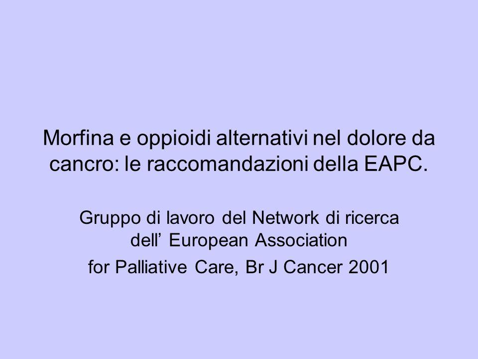 Morfina e oppioidi alternativi nel dolore da cancro: le raccomandazioni della EAPC.