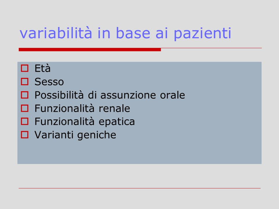 variabilità in base ai pazienti