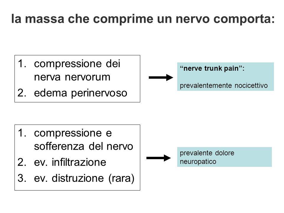 la massa che comprime un nervo comporta: