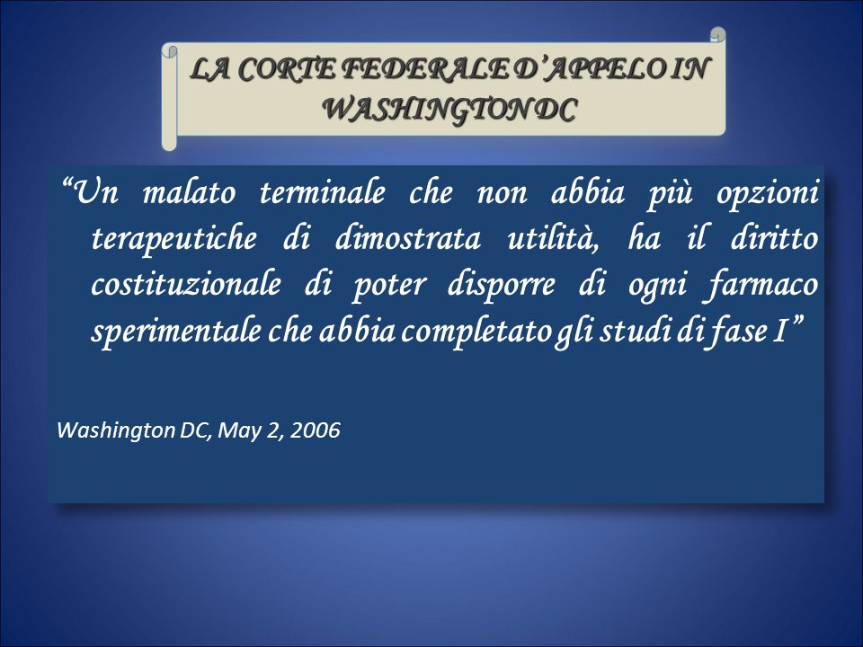 LA CORTE FEDERALE D'APPELO IN WASHINGTON DC