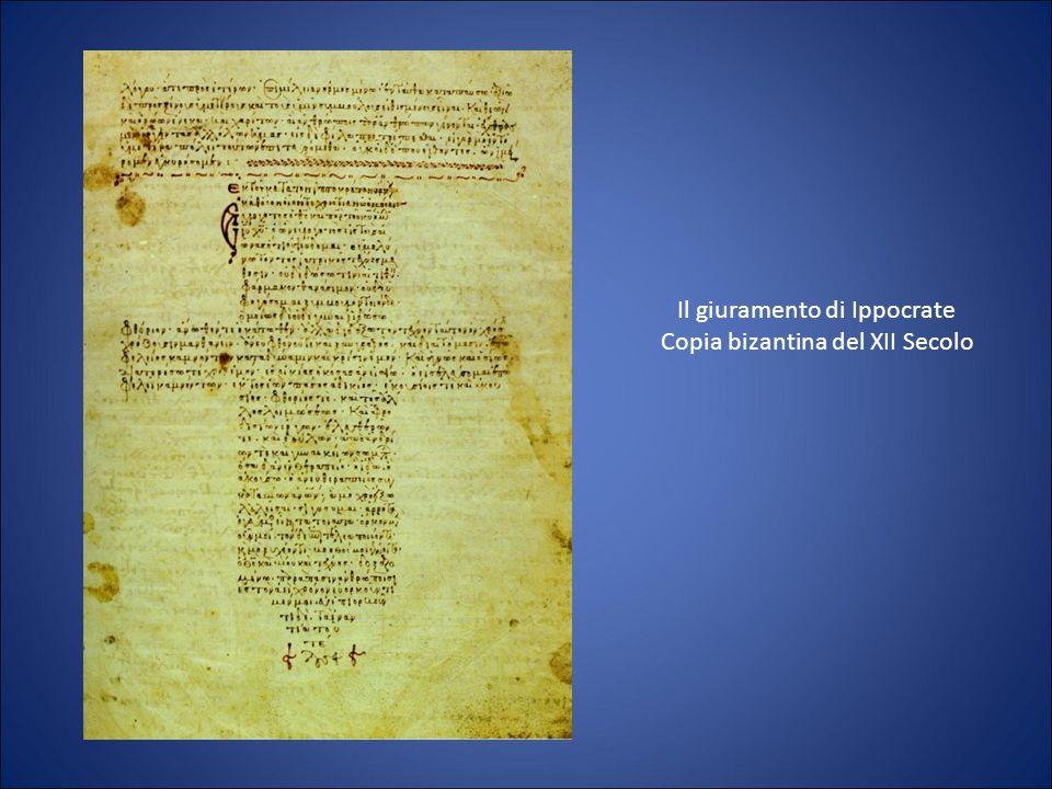 Il giuramento di Ippocrate Copia bizantina del XII Secolo