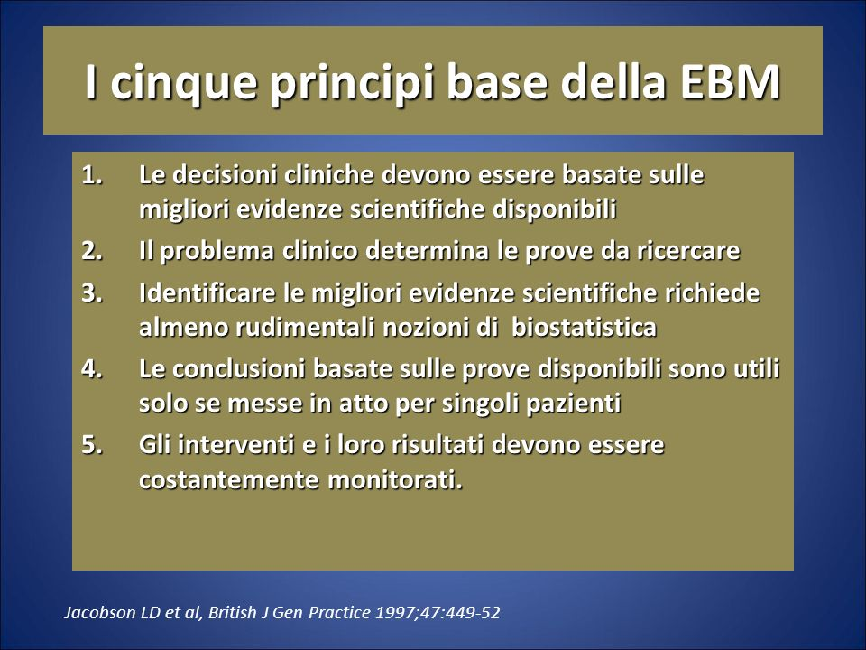 I cinque principi base della EBM